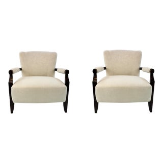 Barbara Barry for Henredon Transitional White and Black Flair Chairs Pair For Sale