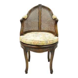 Early 20th Century French Country Louis XV Style Swivel Vanity Chair For Sale