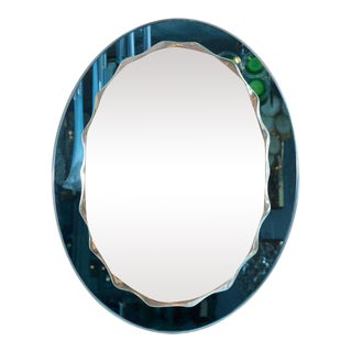 Custom Blue Framed Mirror with Wave Border For Sale