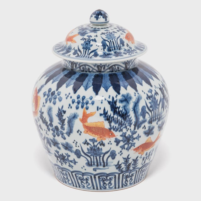 Asian Chinese Underglaze Indigo and Copper Fish Jar For Sale - Image 3 of 7