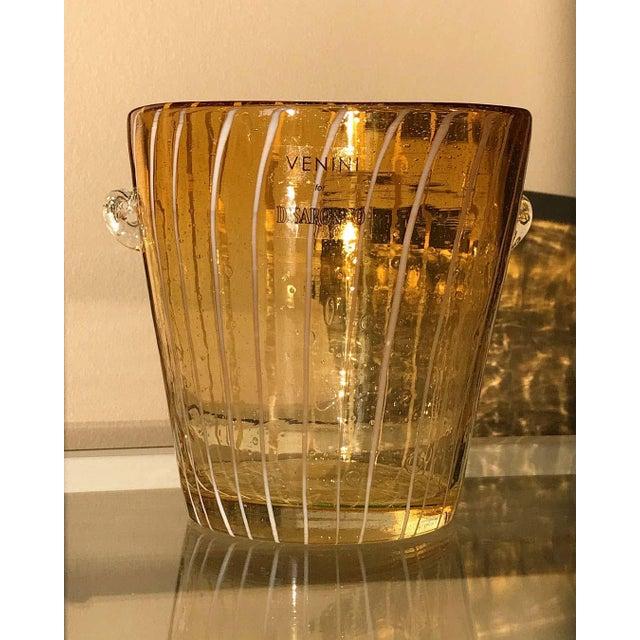 Late 20th Century Modern Venini Murano Amber Art Glass Ice Holder For Sale - Image 5 of 6
