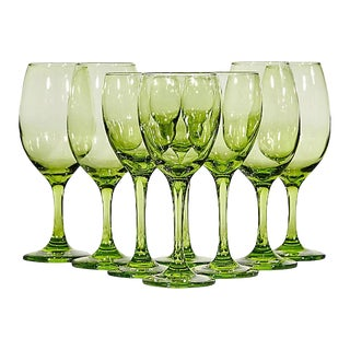 1970s Light Green Wine Stems, Set of 8 For Sale