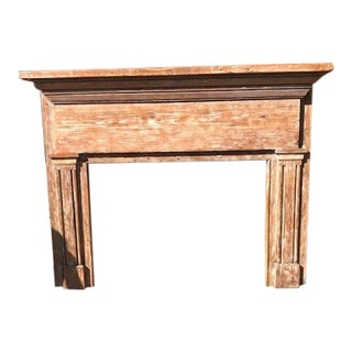 Antique Oak Mantle With White Distressed Stain For Sale