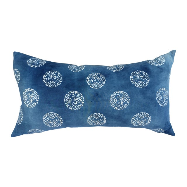 Faded Indigo Batik Body Pillow For Sale