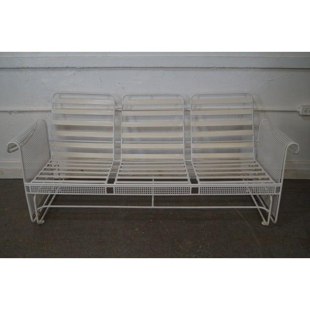 Vintage Woodard White Painted Patio Glider Sofa - Image 10 of 10