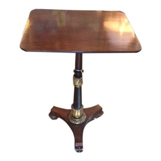 19th Century English Regency Tripod Mahogany With Giltwood Accents Pedestal Table For Sale
