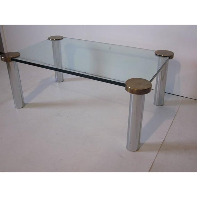 1970s Chrome Brass and Plate Glass Coffee Table For Sale - Image 4 of 5