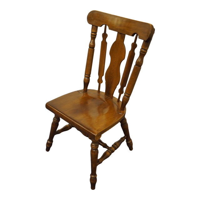 Temple Stuart Solid Hard Rock Maple Colonial Style Splat Back Dining Side Chair 814 For Sale