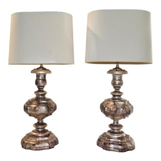 1940s Italian Carved Silver Gilded Wooden Lamps - a Pair For Sale