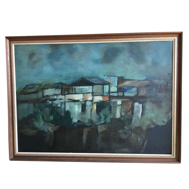 "Modern Swedish ""Building in Moonlight"" Painting - Image 1 of 9"