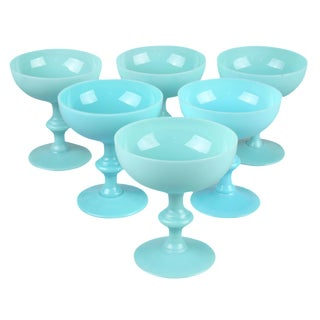 French Blue Opaline Sherbet Cups - Set of 6
