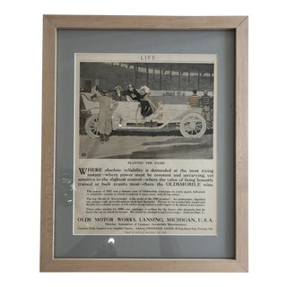 Vintage Framed Life Magazine Oldsmobile Advertisement - 1907 For Sale