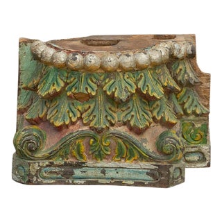 Antique Multi-Color Acanthus Leaf Indian Carved Base For Sale