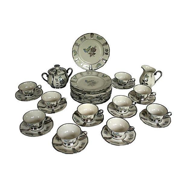 Ceramic 1920s Stolzenfels Silver Butterfly Tea Set/10 For Sale - Image 7 of 7