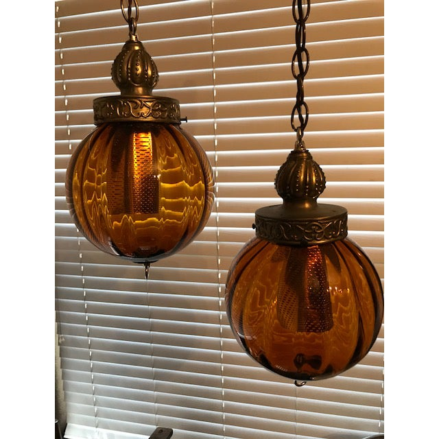 1960s Swag Hanging Amber Blown Glass Globe Pendant Lights - a Pair For Sale - Image 11 of 11