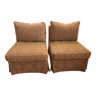 Sherill Furniture Upholstered Armless Chairs - A Pair For Sale