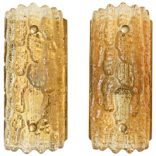 Carl Fagerlund for Orrefors Pair of Amber Glass Wall Sconces Circa 1960s For Sale