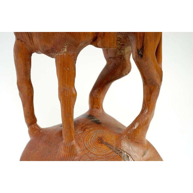 """Wood """"Horse & Weary Rider"""" Large Abstract Carved Wood Sculpture For Sale - Image 7 of 7"""