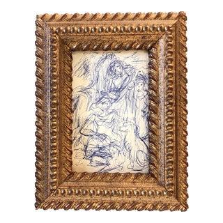 Original Vintage Mid Century Ink Figure Study Drawing For Sale
