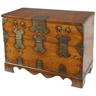 19th Century Hand Hewn Korean Chest For Sale