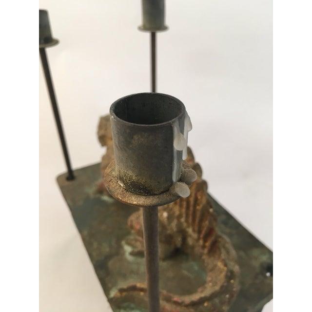Gold Thoym Rebusi Studio Tom McCanna Gilt Terracotta Dimetrodon Candleholder For Sale - Image 8 of 11
