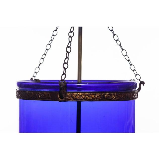 Metal Vintage Large Deep Indigo Blue Glass Bell Jar Pendant Light For Sale - Image 7 of 8