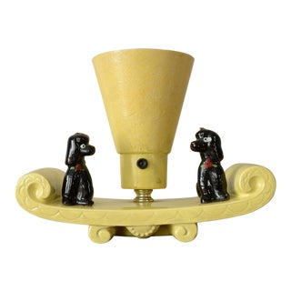 1950s Vigon Ceramic Poodles Table Lamp With Fiberglass Shade For Sale
