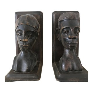 Haitian Carved Bookends - A Pair