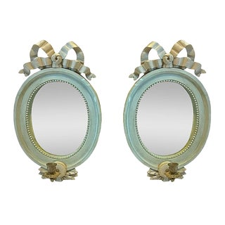 Vintage Carved Ribbon Mirrored Sconces - a Pair For Sale