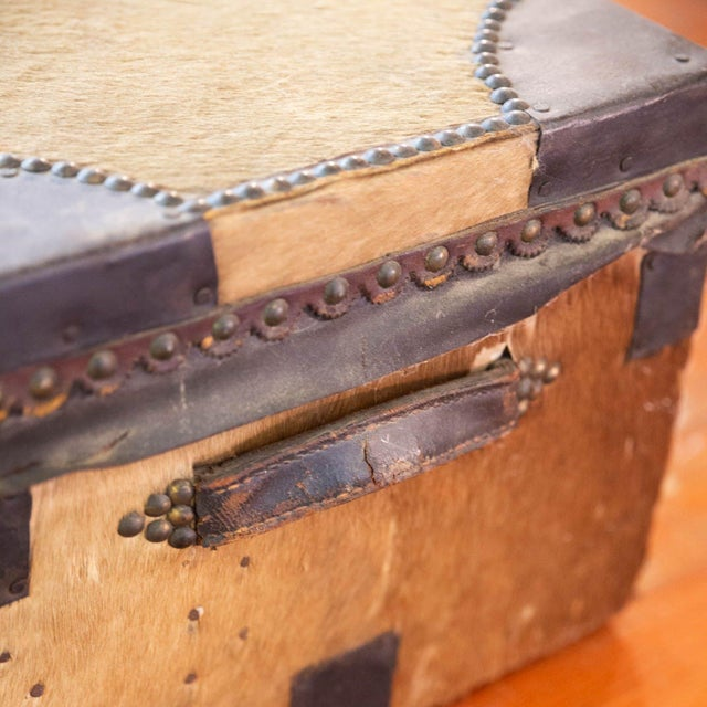 Antique Cowhide Trunk with Initials DP For Sale In Los Angeles - Image 6 of 9