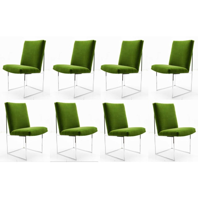 1970s Vintage Milo Baughman Dining Chairs in Italian Velvet - Set of 8 For Sale - Image 11 of 11