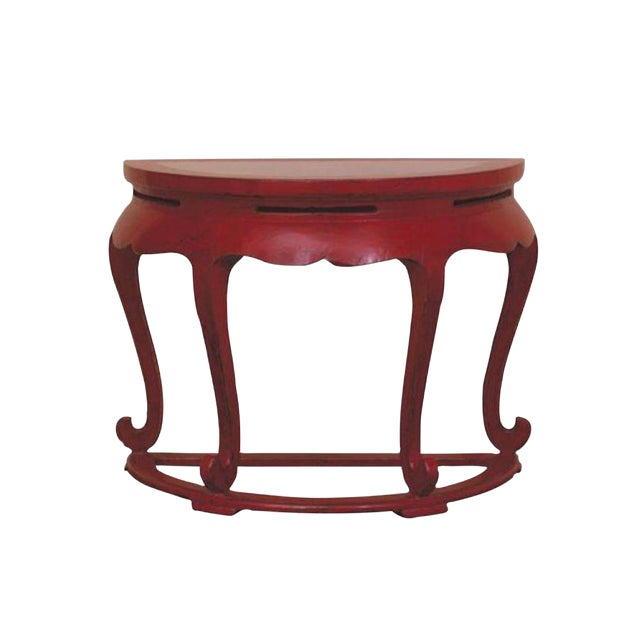 Vintage Red Asian Demilune Console Table - Image 1 of 3