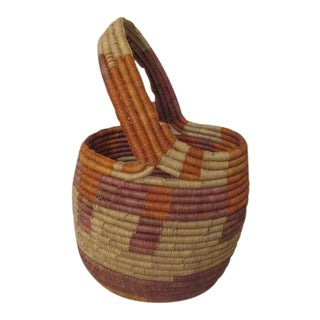Large Woven South American Basket With Handle