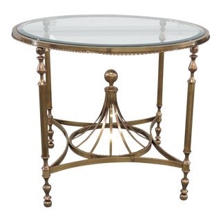 Hollywood Regency Style Glass Top Center Table For Sale