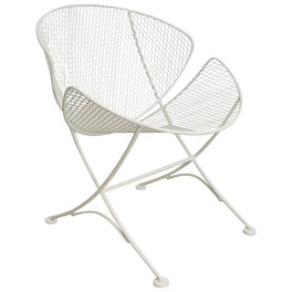 "Vintage Mid Century Salterini White Patio ""Clamshell"" Side Chair For Sale"