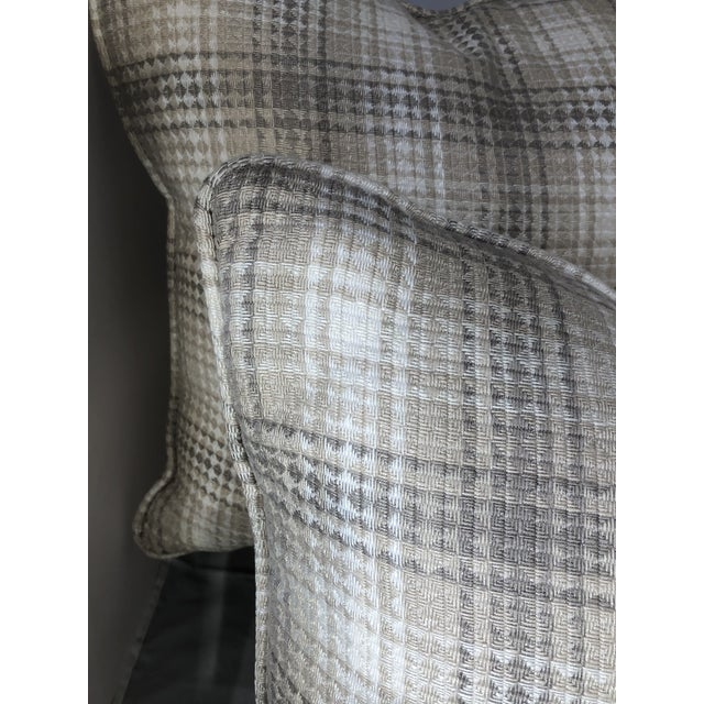 """Gray 20"""" Square Plaid Robert Allen Pillows - a Pair For Sale - Image 8 of 9"""