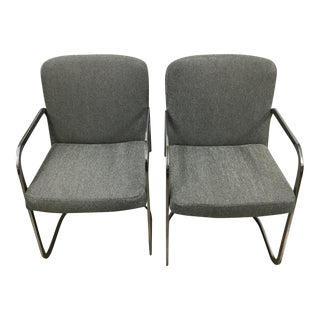 Grey Chrome Chairs - A Pair