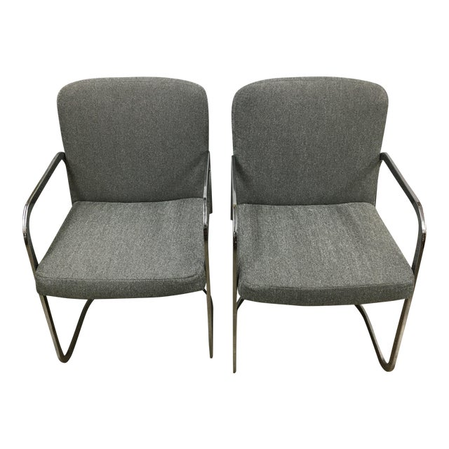 Grey Chrome Chairs - A Pair For Sale