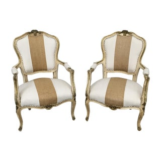 Vintage Louis XV Style Armchairs - Pair For Sale