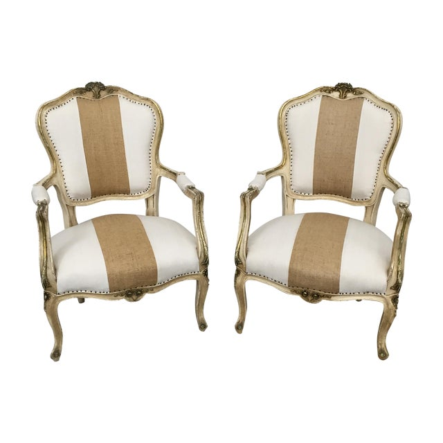 Vintage Louis XV Style Armchairs - Pair - Image 1 of 11