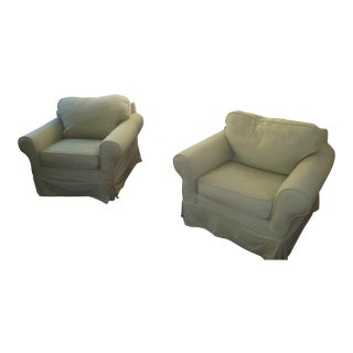 Mitchell Gold Alexa Chairs Slipcover Club Chairs - a Pair For Sale
