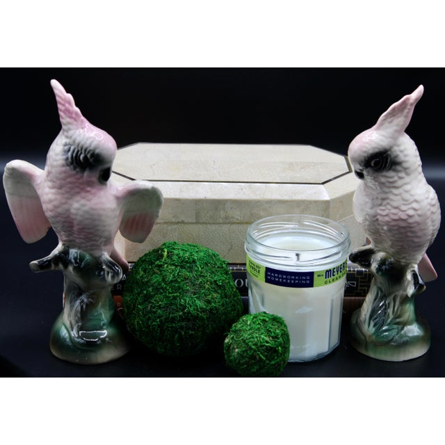 Pink Vintage Pink Ceramic Cockatoo Parrot Bird Figurines - a Pair For Sale - Image 8 of 11