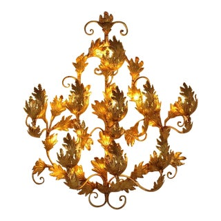 Extra Large 1970s Gold Leaf Wall Applique For Sale