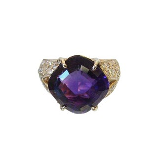 14k Gold Amethyst and Diamond Cocktail Ring For Sale