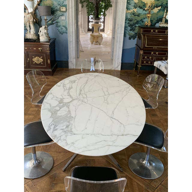 Oval Knoll Marble Top Dining Table For Sale - Image 10 of 13