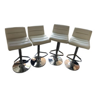 Contemporary Scandanavian White Lattice Adjustable Height Swivel Bar Stools - Set of 4