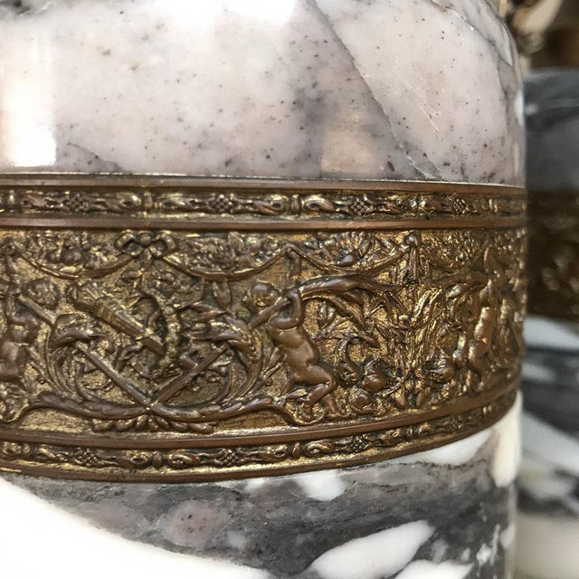 Late 19th Century Mantel Urns/Cassolettes, 19th Century French Marble & Bronze - a Pair For Sale - Image 5 of 12