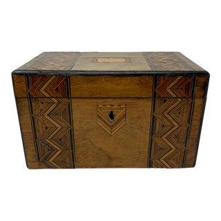 19th Century English Tea Caddy/ Walnut Box For Sale