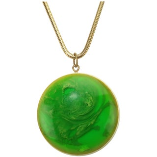 Mod Green Marbled Acrylic Pendant Necklace, Circa 1970 For Sale