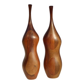 Pair of Organic Walnut Salt & Pepper by Daniel Loomis Valenza Design For Sale